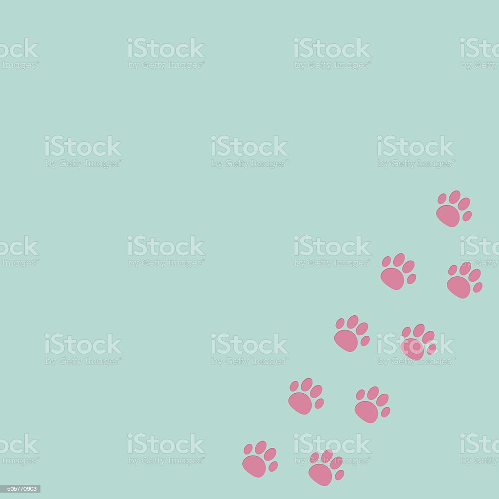 Paw print track in the corner. Blue and pink. royalty-free stock vector art