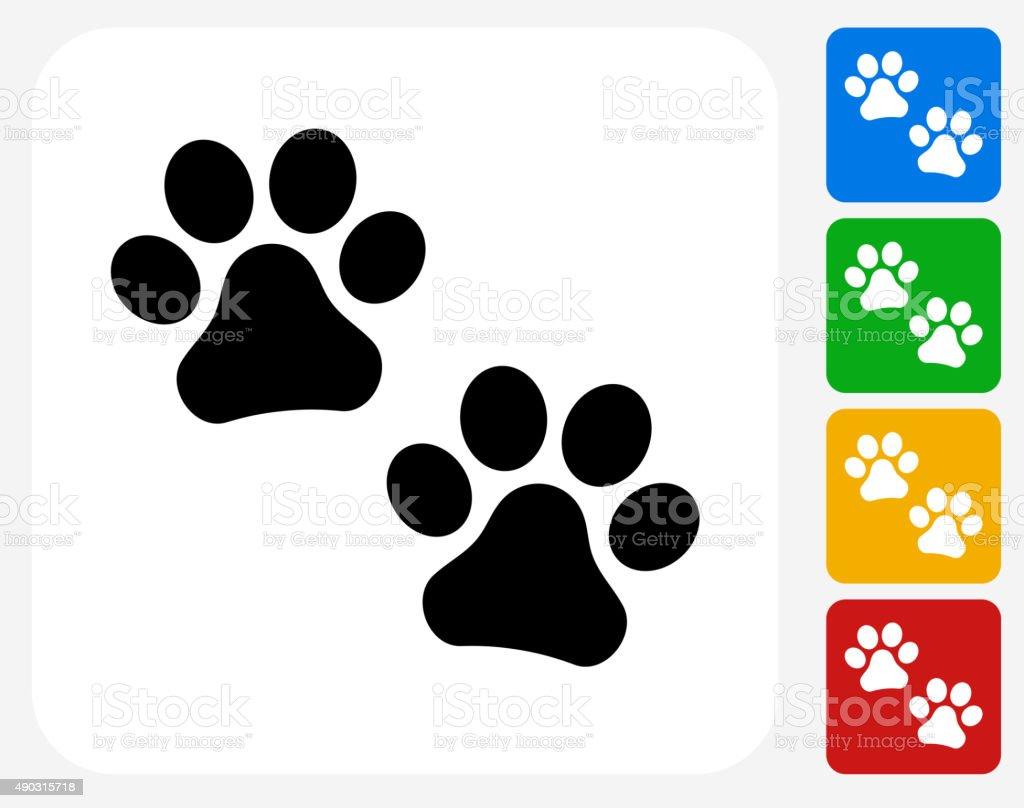 Paw Prints Icon Flat Graphic Design vector art illustration