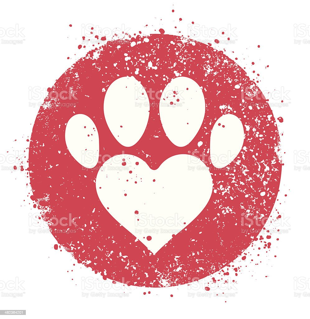 Paw sign with heart shape vector art illustration