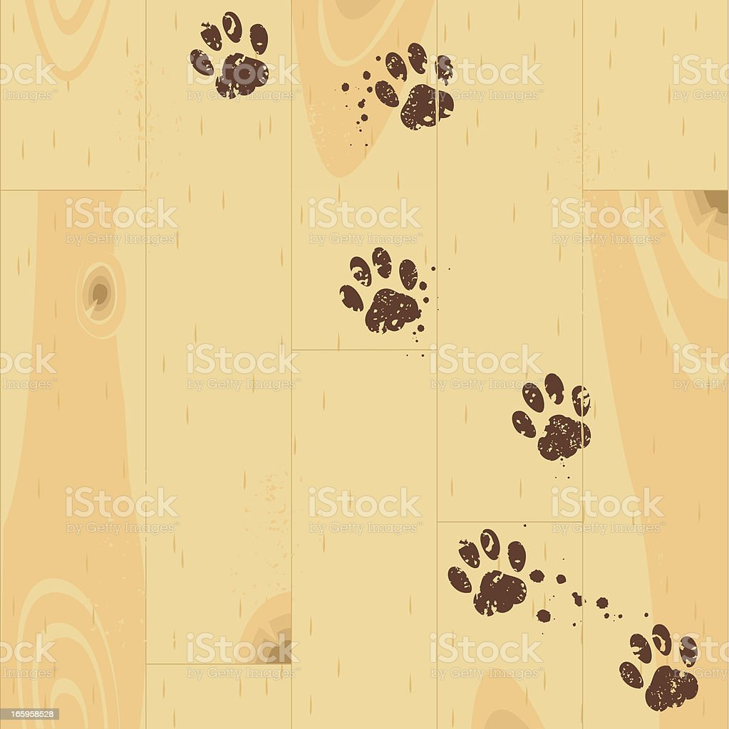 Paw tracks vector art illustration