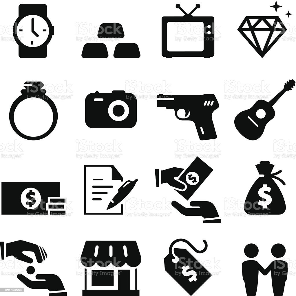 Pawn Shop Icons - Black Series vector art illustration