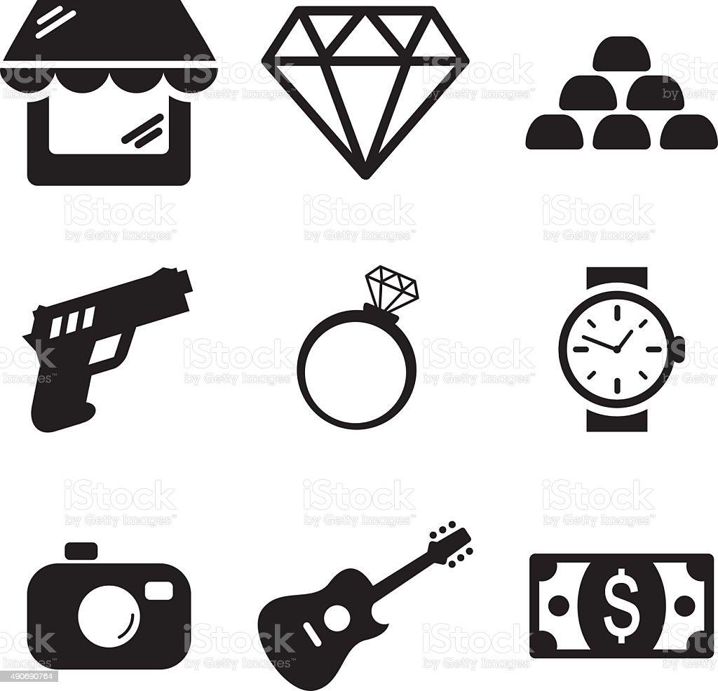 Pawn Shop Icons vector art illustration