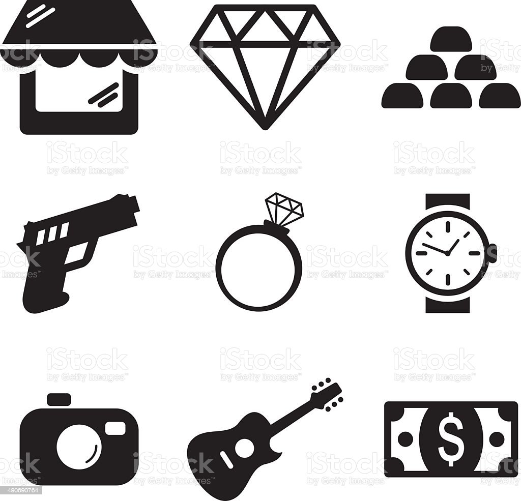 Pawn Shop Icons vector art illustration