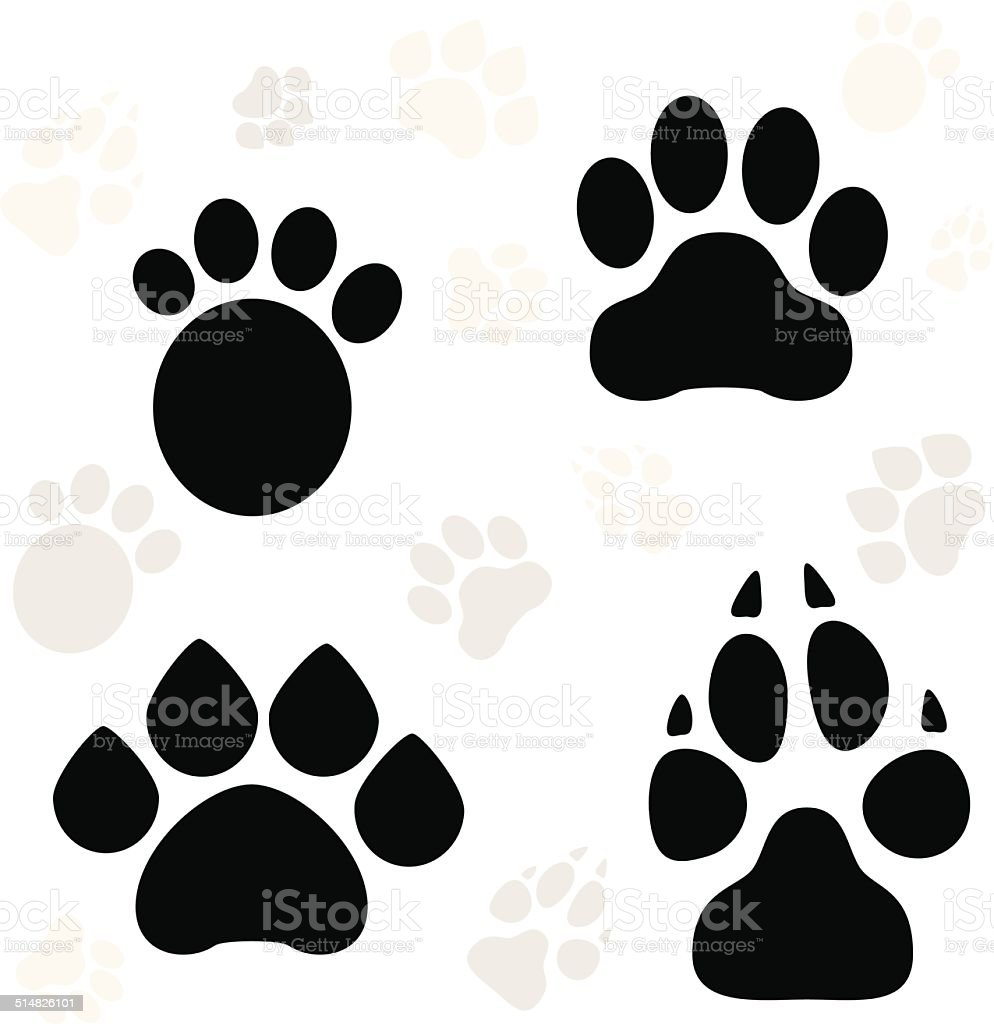 Paws and Claws Print vector art illustration
