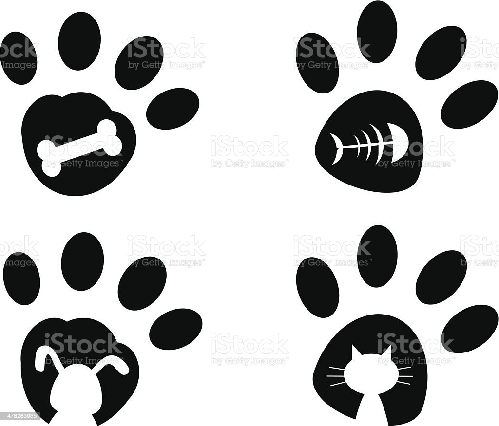 Paws vector art illustration