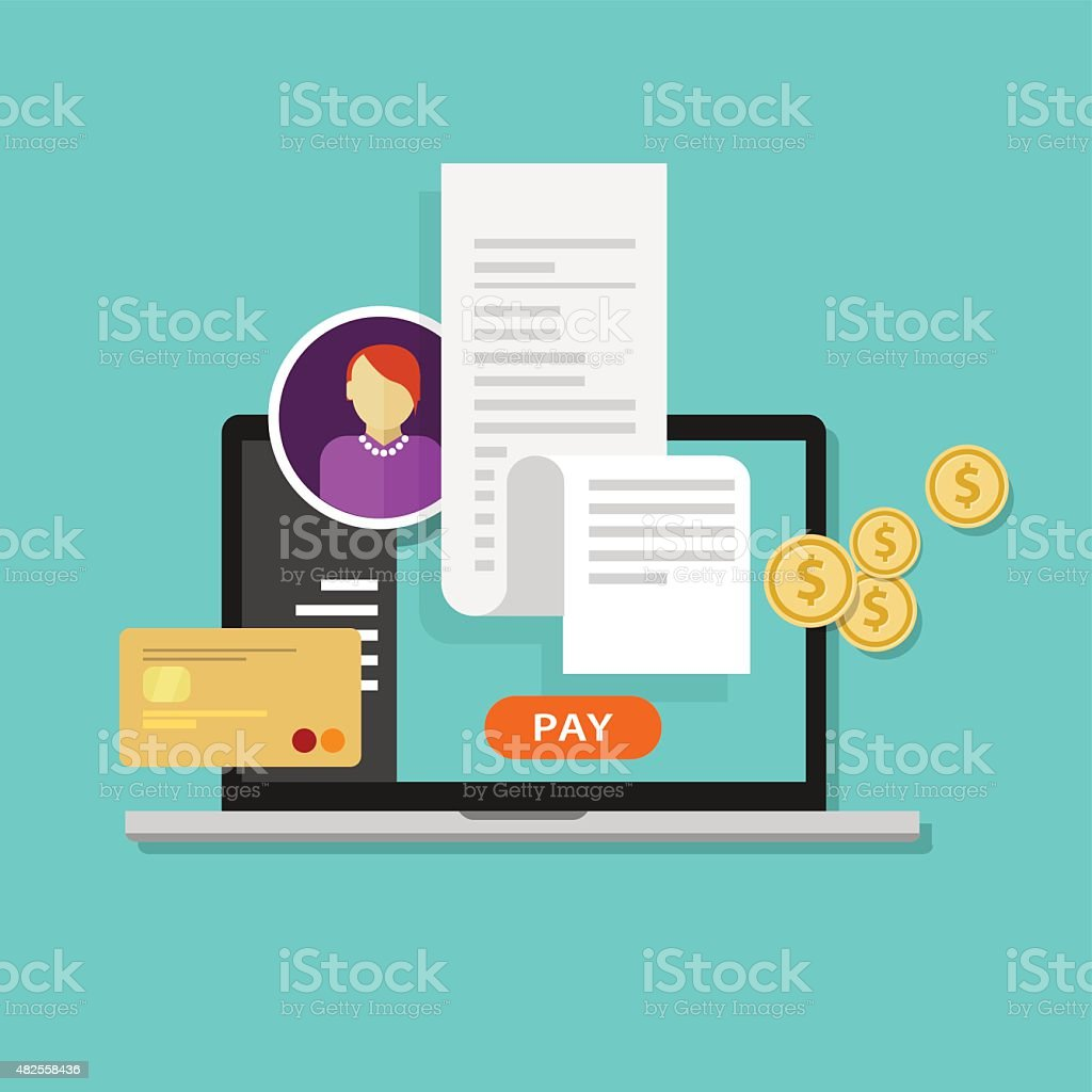 pay bills tax online receipt billing payment vector art illustration