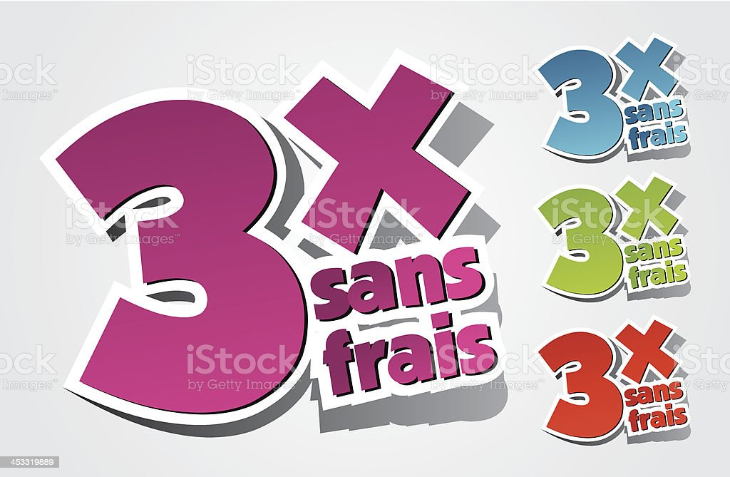 Pay By Three Times Icons vector art illustration