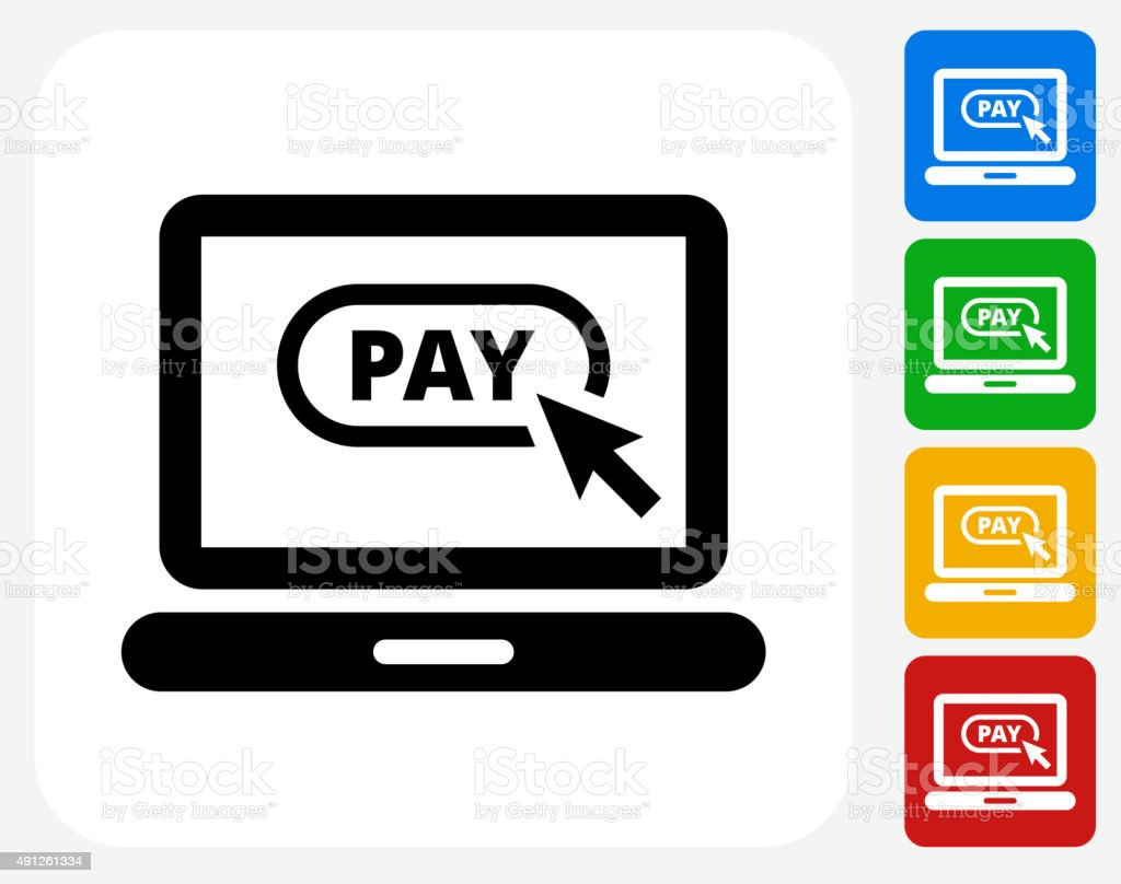 Pay Online Icon Flat Graphic Design vector art illustration