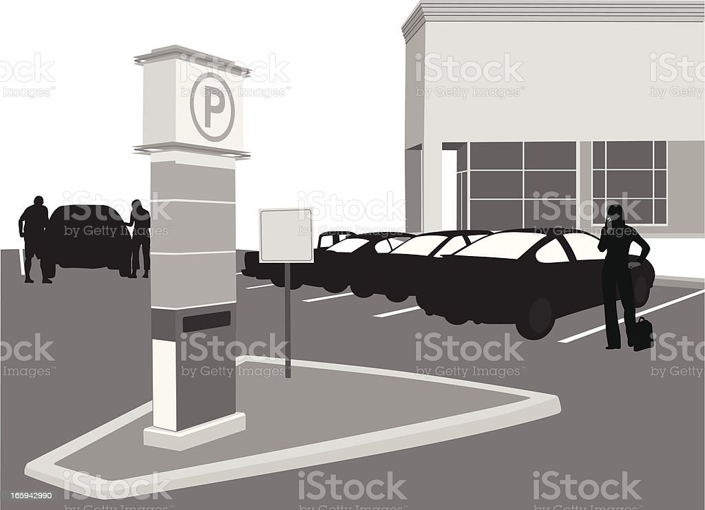 Pay Parking Vector Silhouette vector art illustration