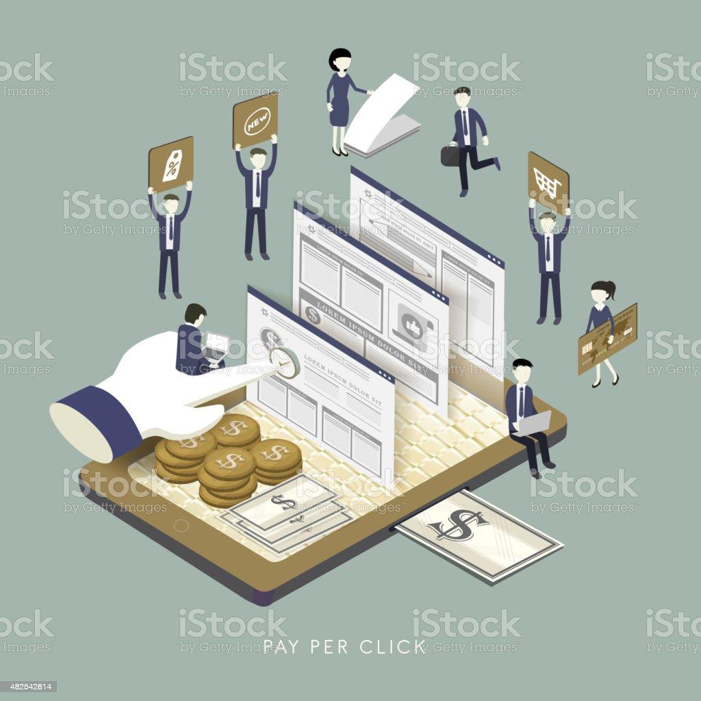 pay per click concept vector art illustration