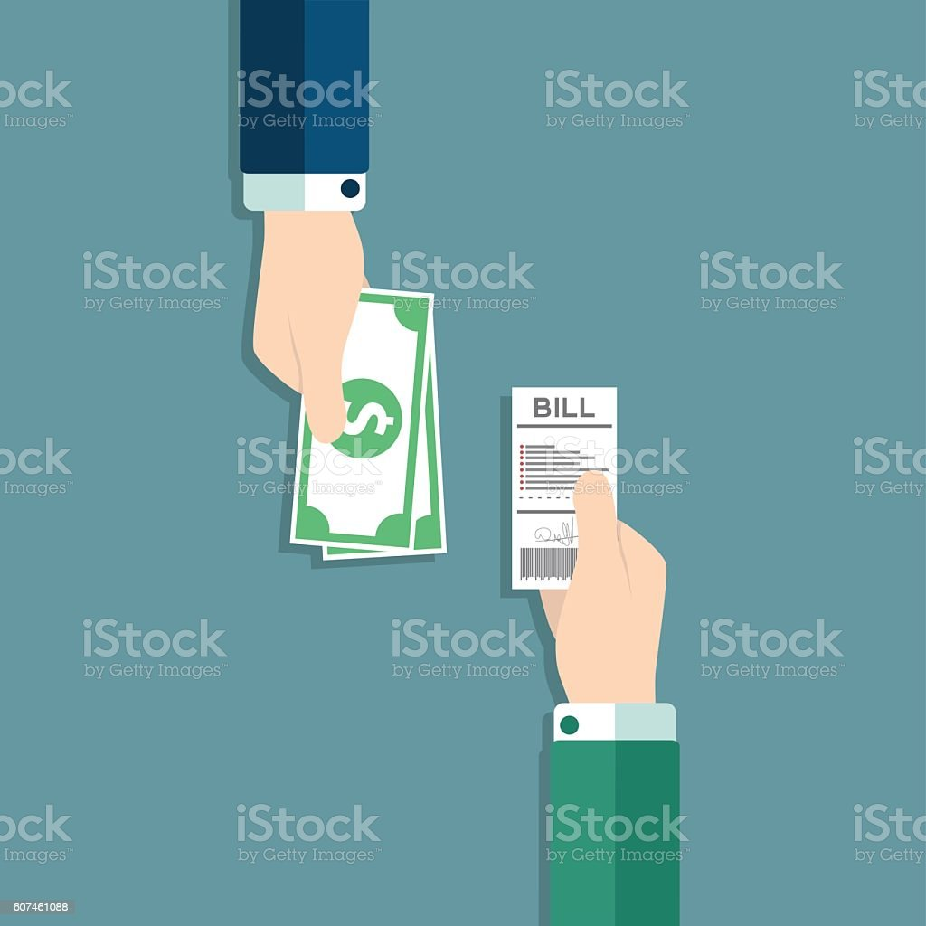 Paying bills, hand giving receipt bill and  giving cash money, vector art illustration
