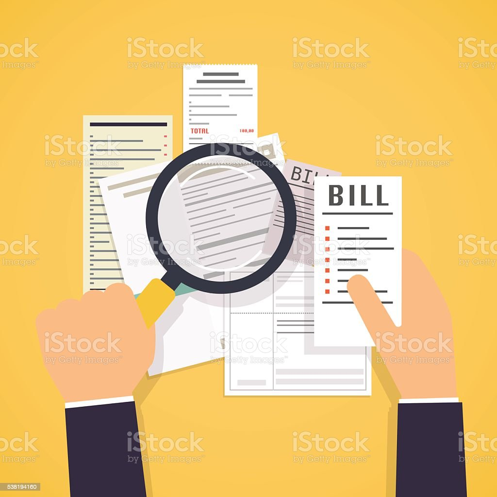 Paying bills. Hands holding bills and magnifying glass. Payment vector art illustration