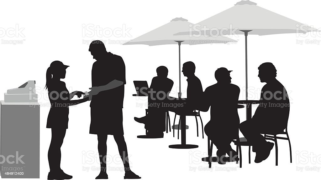 Paying The Waitress vector art illustration