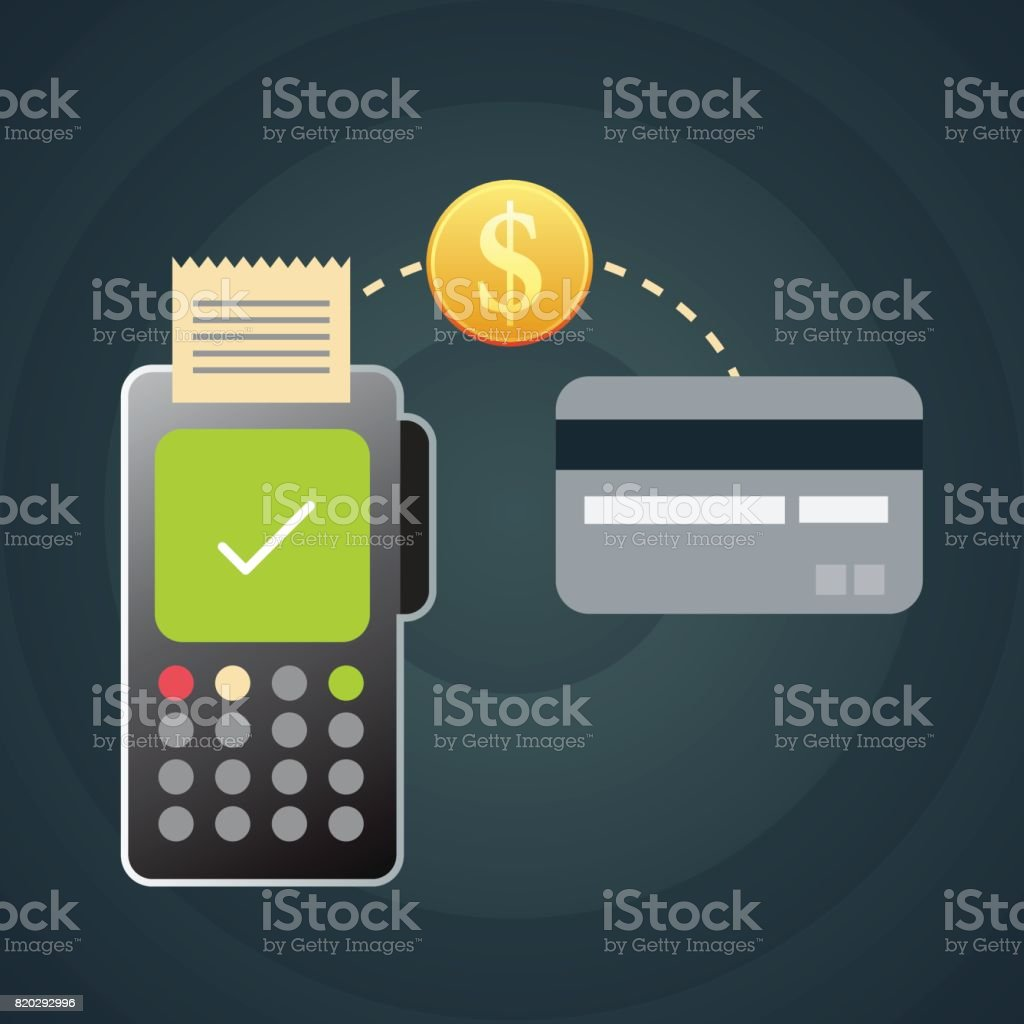 Paying with credit card on POS terminal vector art illustration
