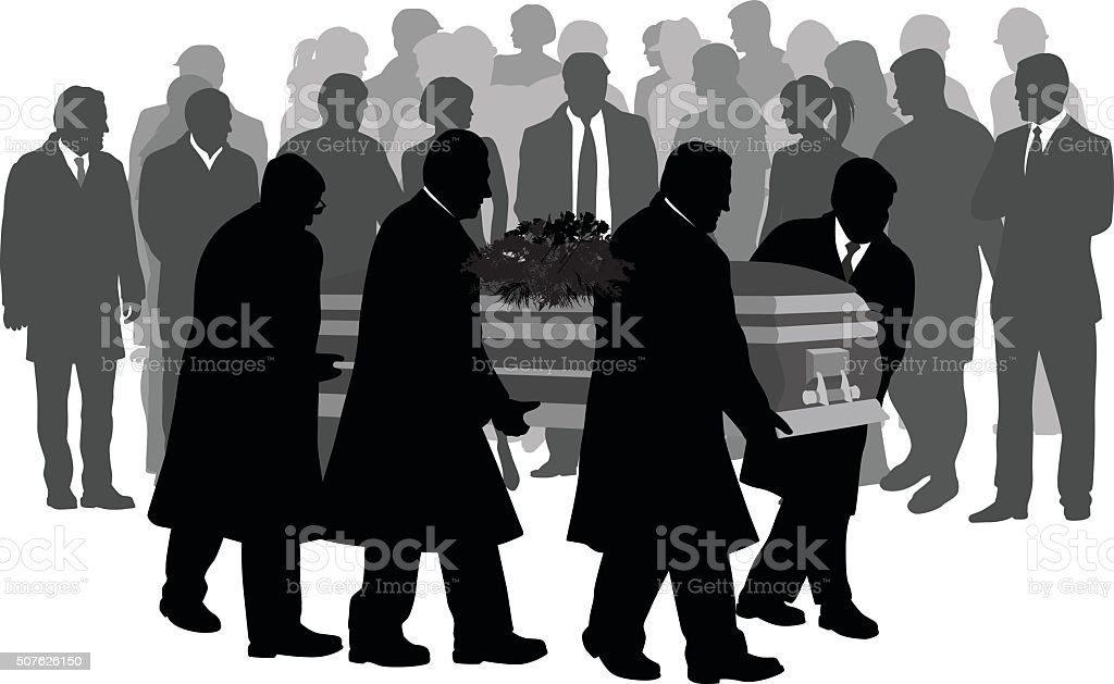 Paying Your Last Respects vector art illustration