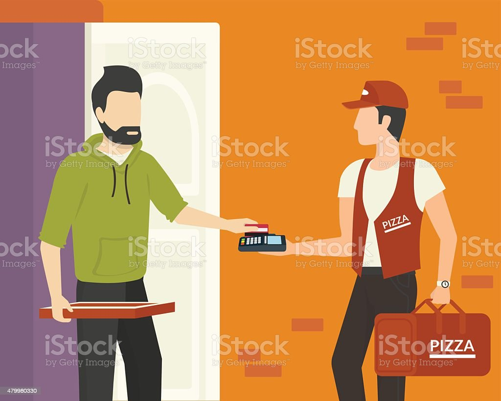Payment by credit card vector art illustration