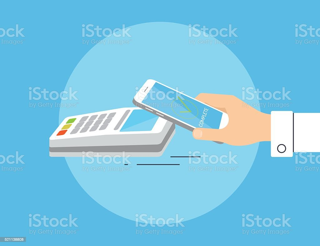 Payment by smartphone via nfc vector art illustration