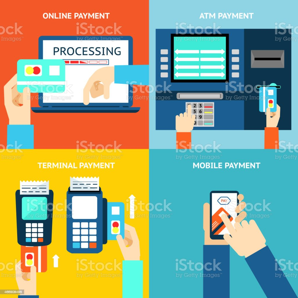 Payment methods. Credit card, cash, mobile app and ATM terminal vector art illustration