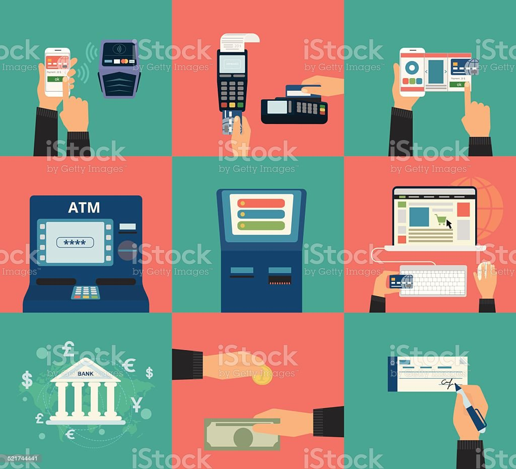 Payment methods vector art illustration