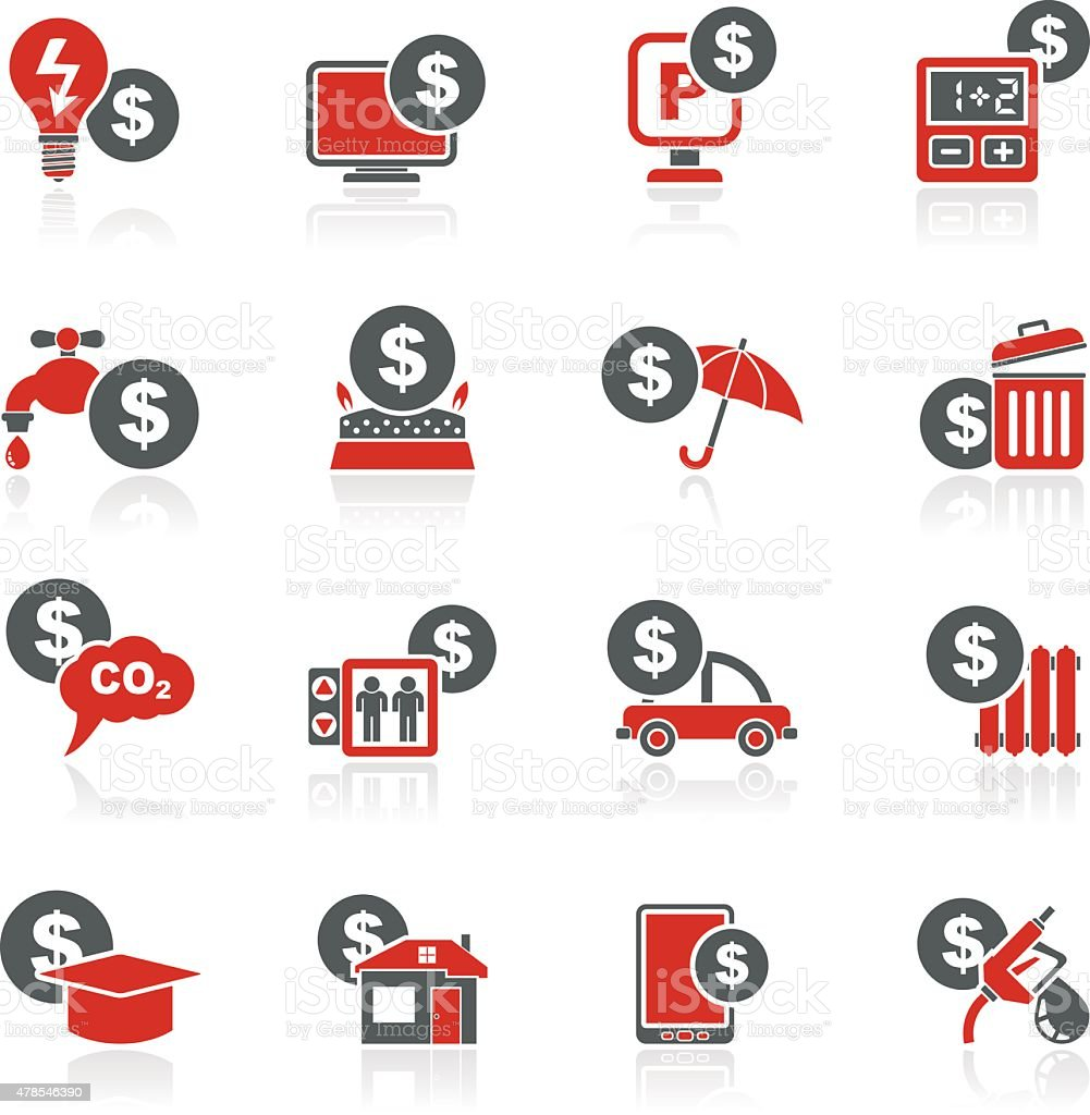 payment of bills icons vector art illustration