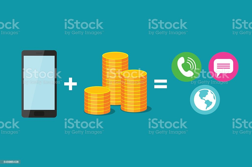 Payment of communications services and use of phone vector art illustration
