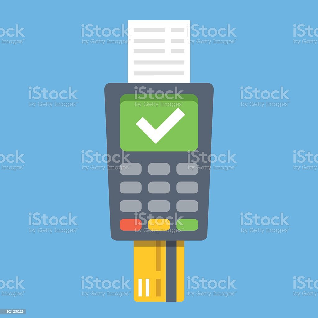 Payment terminal. Point of sale concept. Flat design vector illustration vector art illustration