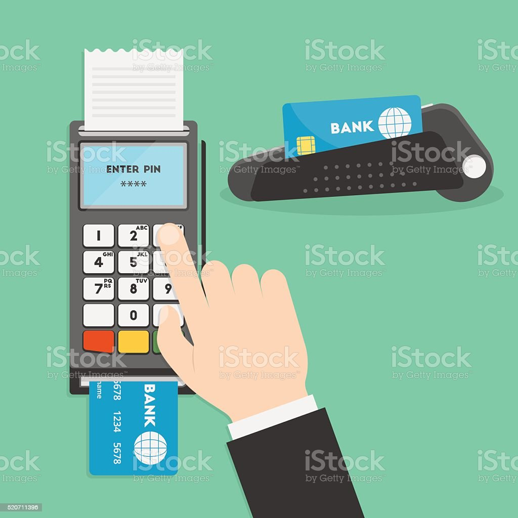 Payment terminal vector art illustration
