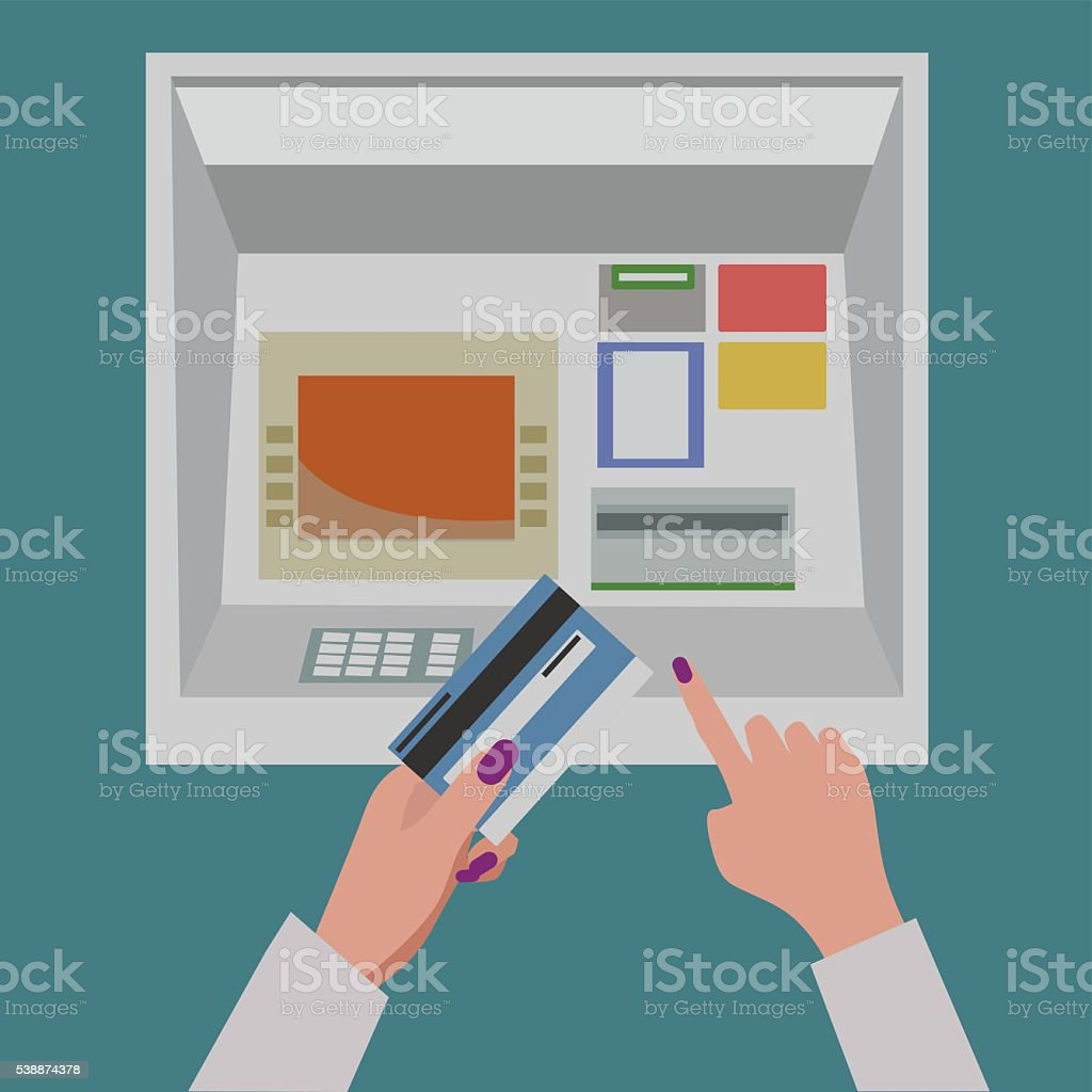 ATM payment, Woman inserting a bank Credit Card vector art illustration