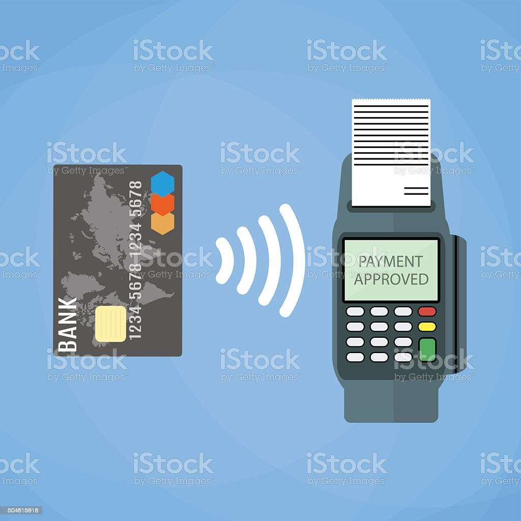 Payments using terminal and debit credit card vector art illustration