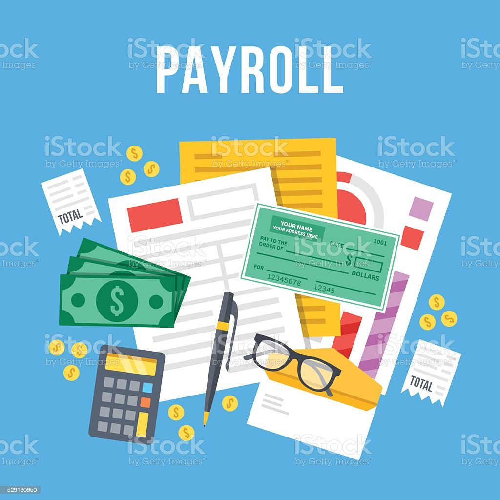 Payroll, invoice sheet flat illustration. Top view. Flat vector illustration vector art illustration