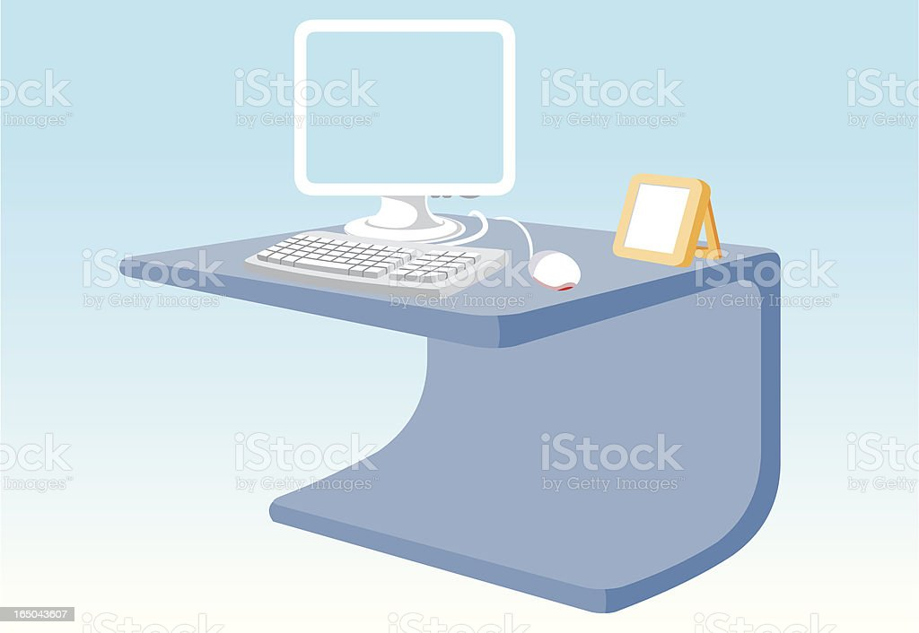 Pc on table royalty-free stock vector art