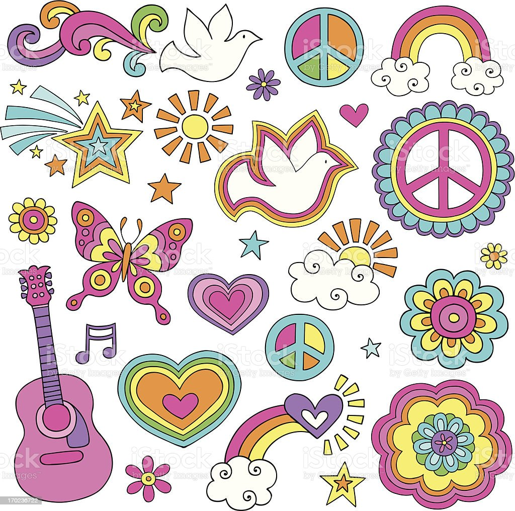 Peace and Love Flower Power Psychedelic Doodles Set vector art illustration