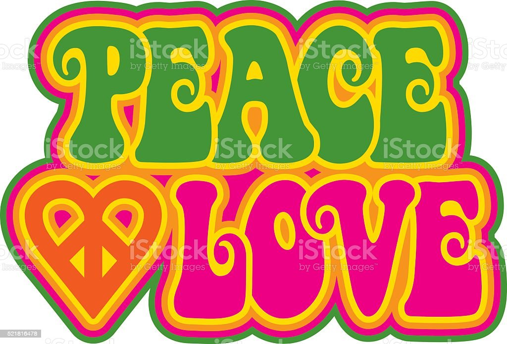 Peace and Love vector art illustration