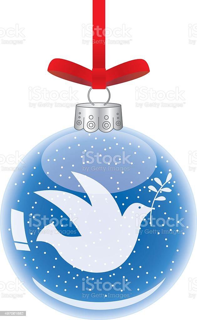 Peace Dove Christmas Ornament vector art illustration