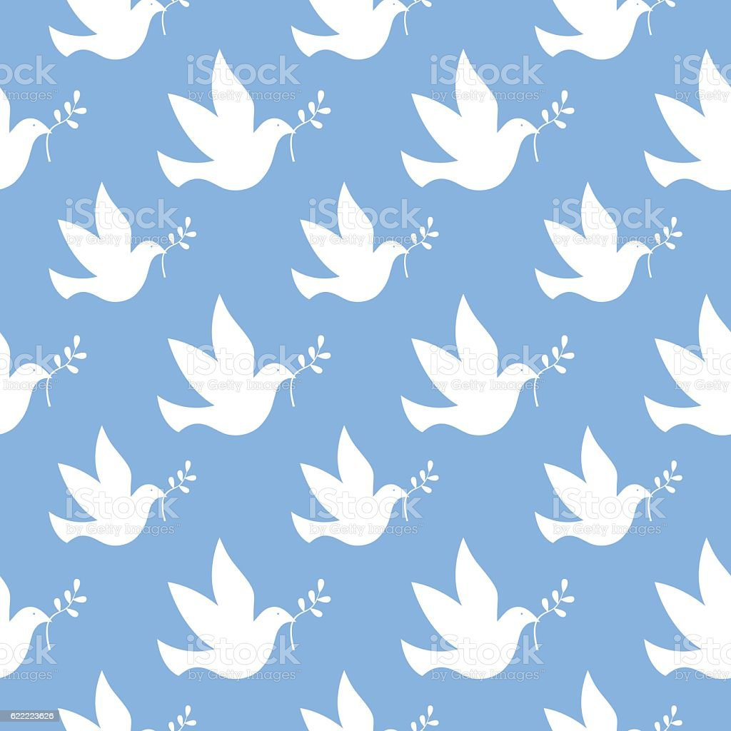 Peace Dove Seamless Pattern vector art illustration