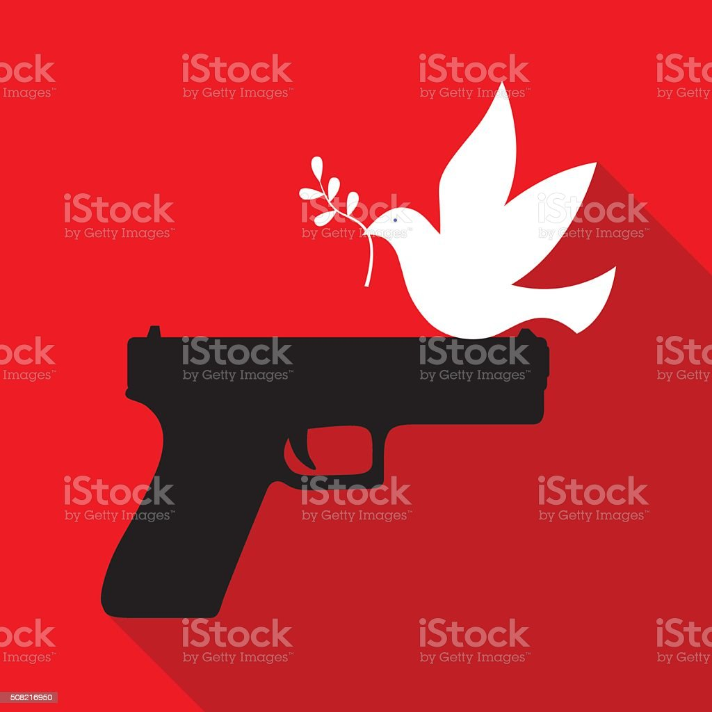 Peace Dove Sitting On Hand Gun vector art illustration
