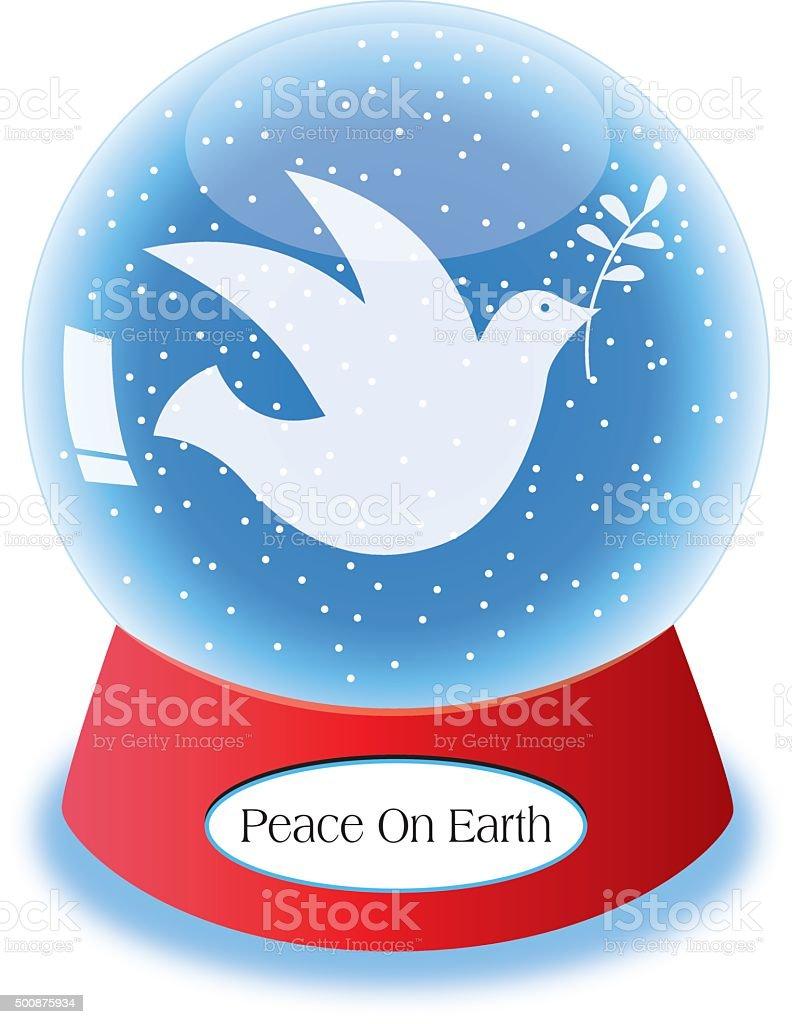 Peace Dove Snow Globe vector art illustration