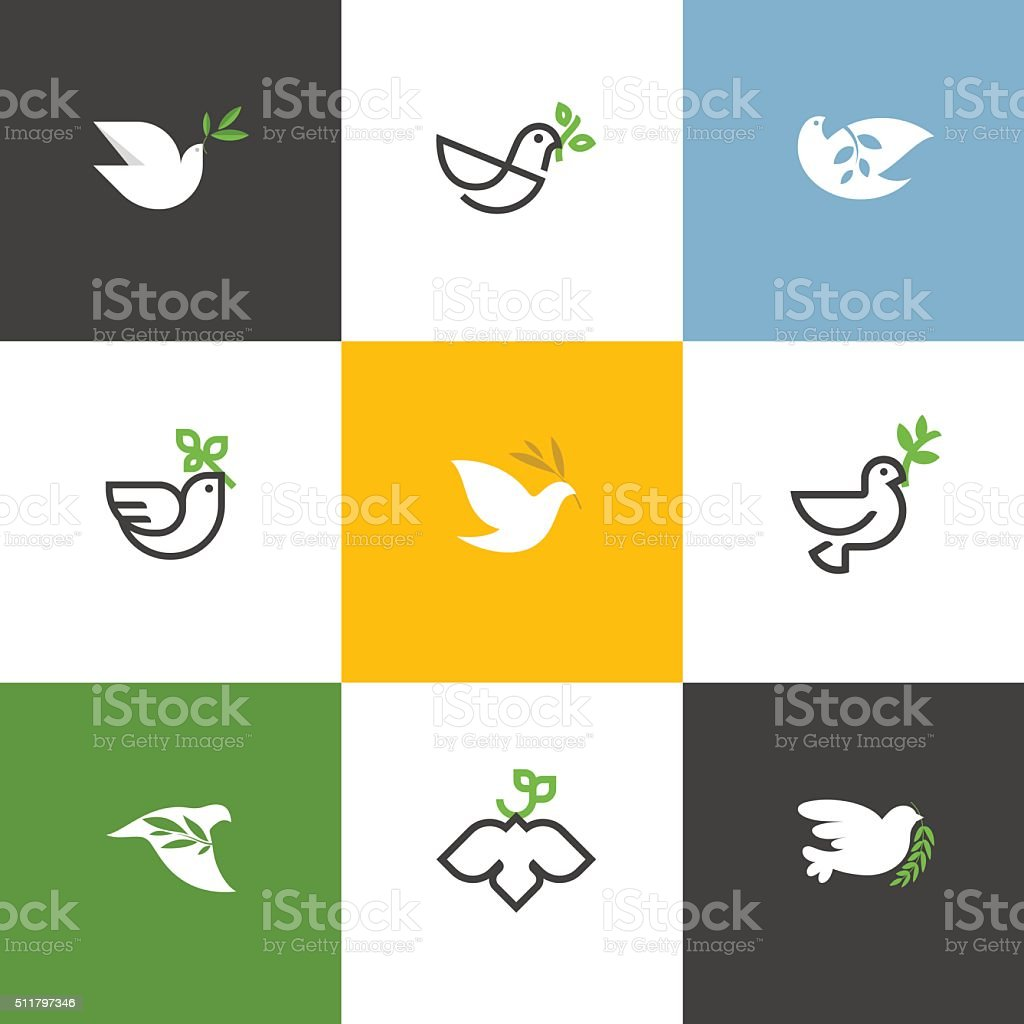 Peace dove with green branch. Flat line vector illustrations set vector art illustration