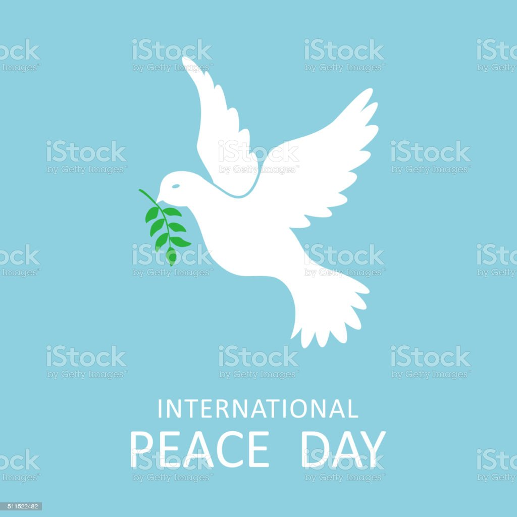 Peace dove with olive branch for International Peace Day vector art illustration