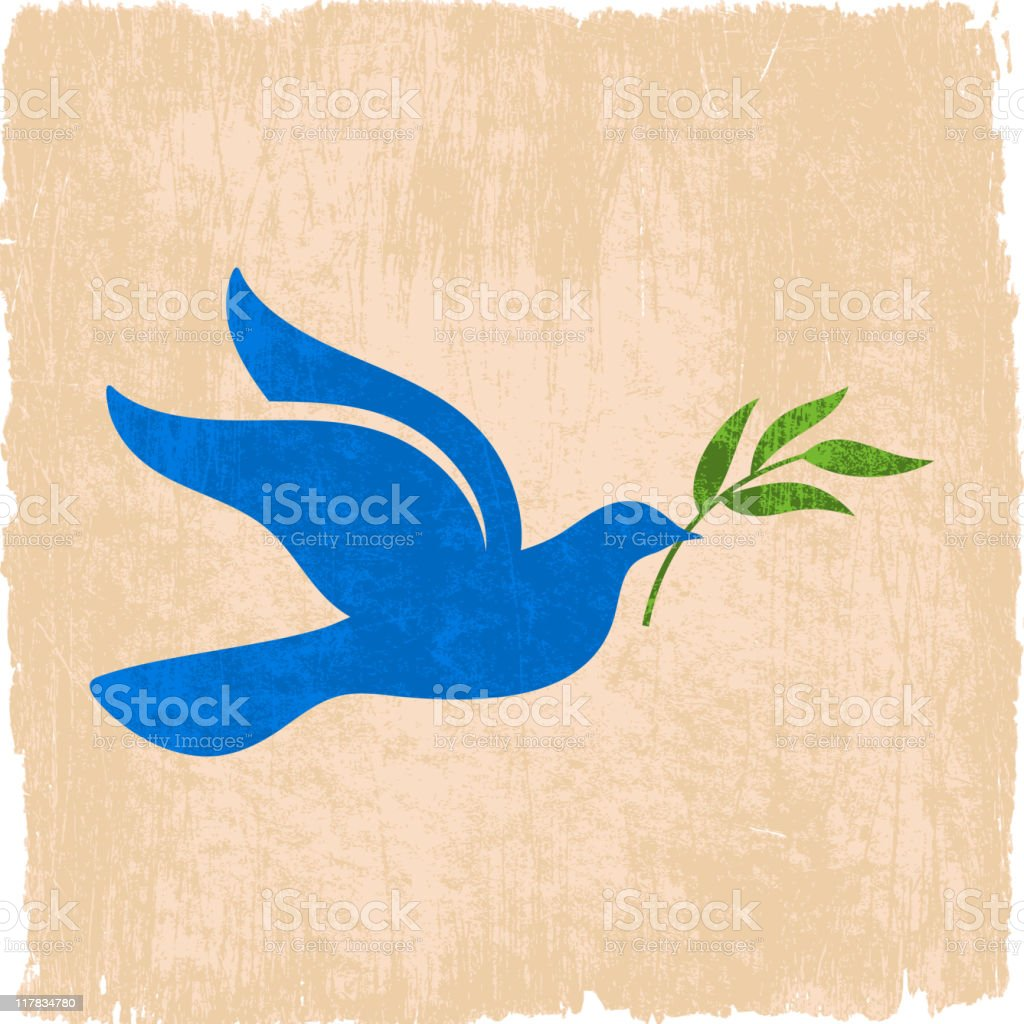 peace dove with olive branch on grunge background vector art illustration
