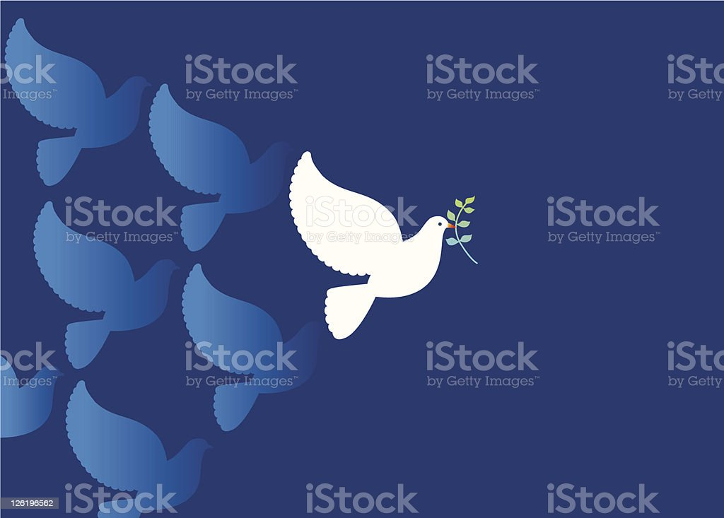 Peace Dove with Olive branch vector art illustration