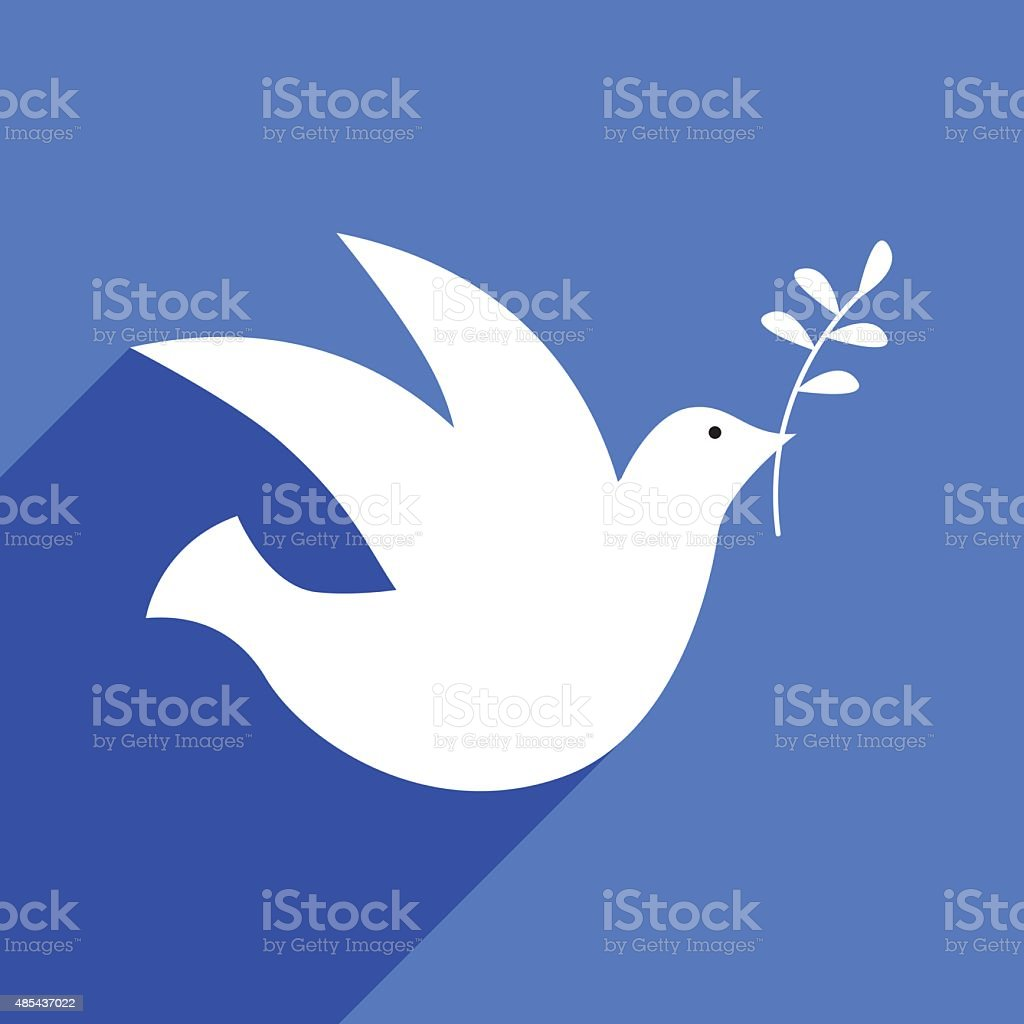 Peace Dove With Shadow vector art illustration