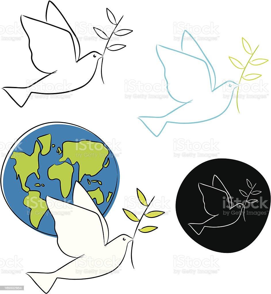 Peace Doves Four Versions vector art illustration