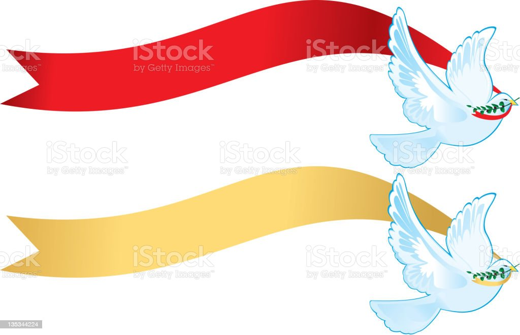 Peace Doves with banners royalty-free stock vector art
