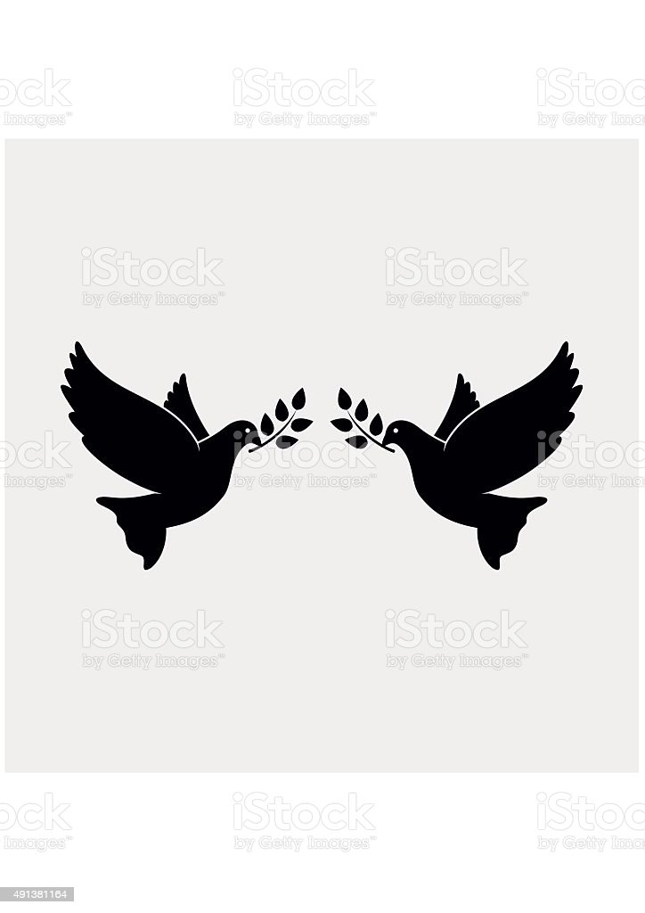 Peace Doves with Olive branch. Vector Illustration vector art illustration