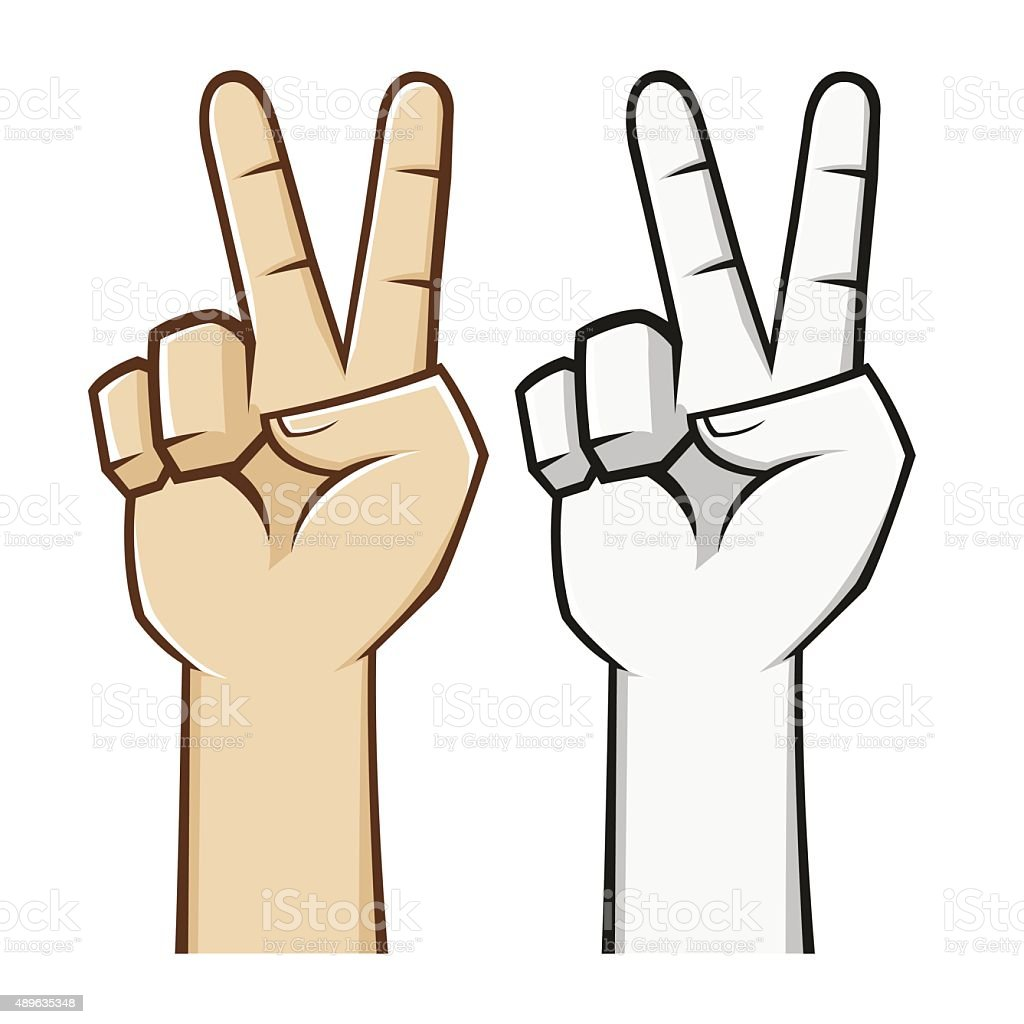 Peace Hand Sign vector art illustration