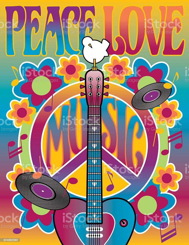Peace Love and Music vector art illustration