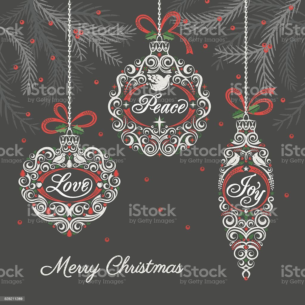 Peace Love Joy Christmas Ornaments vector art illustration