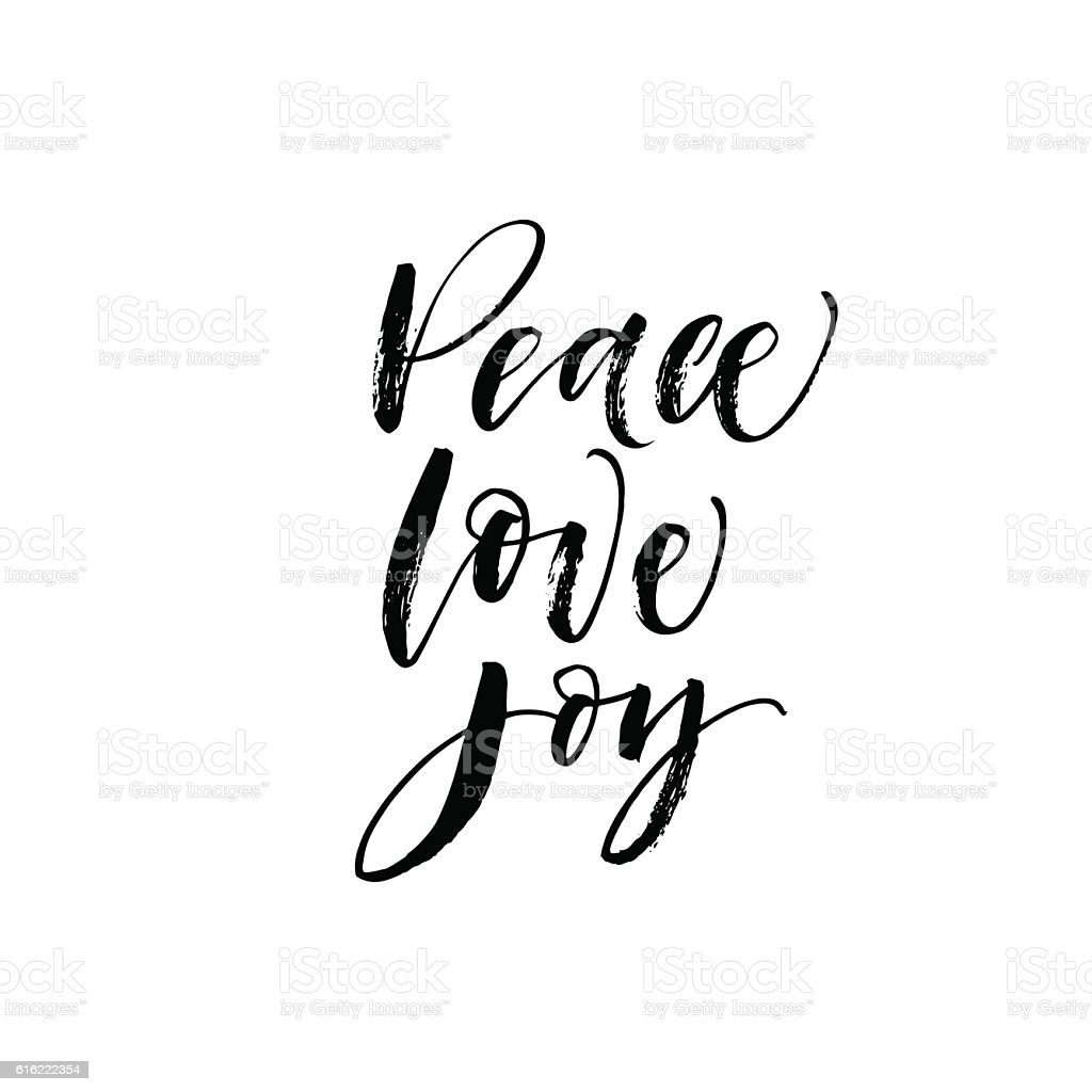 Peace, love, joy postcard. vector art illustration