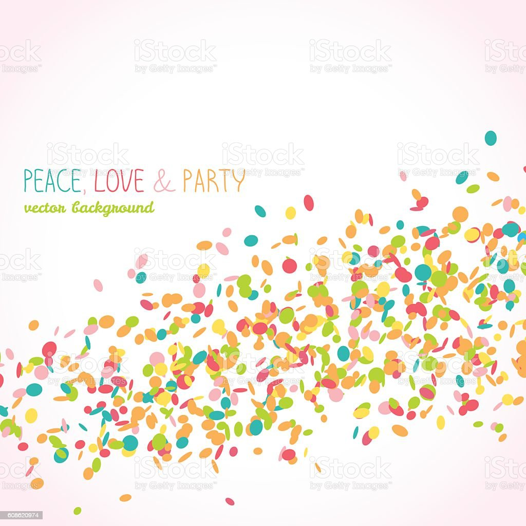 Peace, Love & Party card. Colorful confetti frame. vector art illustration